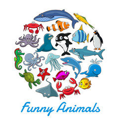 Poster cartoon sea animals and fish vector