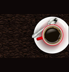 red cup coffee and coffee beans background vector image