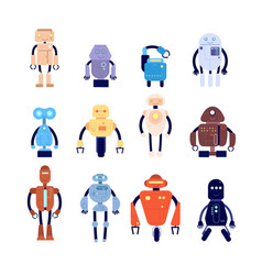 Robot characters cute fiction mechanical toy vector
