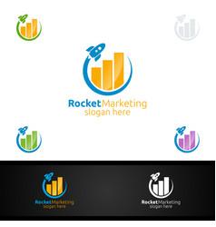 Rocket marketing financial advisor logo design vector