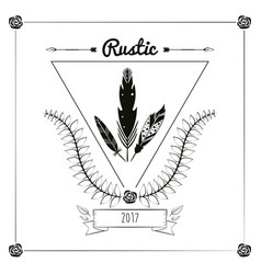Rustic card greeting feather leaves ribbon vector