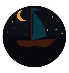 sailing boat in the night print on white vector image