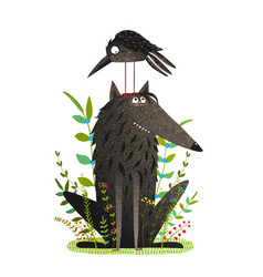 scary wolf and funny crow in forest vector image