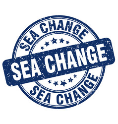 Sea change blue grunge stamp vector