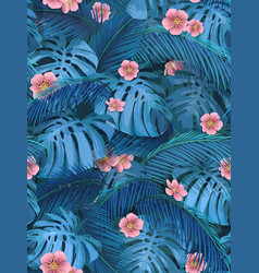 Seamless background of tropical leaves in blue vector