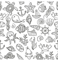 Seamless pattern of marine life vector