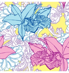 Seamless pattern with flowers orchids vector image