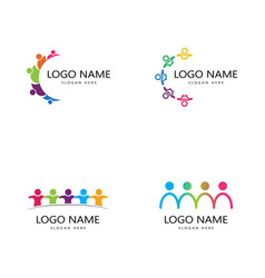 Set adoption and community care logo template vector