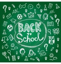 Set back to school Blackboard chalk sketch White vector