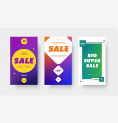 set color gradient banners with square circle vector image