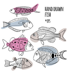 Set hand drawn stylized fishes vector