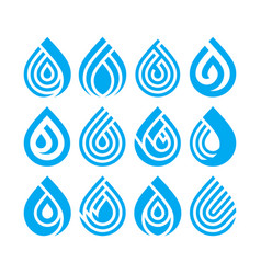 set of bue different water drop icons vector image