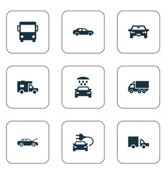 Set of simple transport icons vector