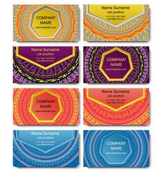 set of visiting card with mandala vector image