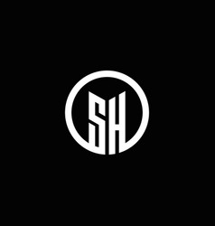 sh monogram logo isolated with a rotating circle vector image