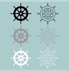 Ships wheel black grey white colour icon vector