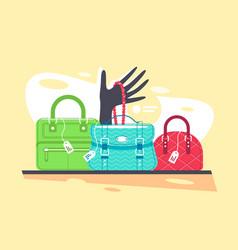Shop window blue red and green handbag vector