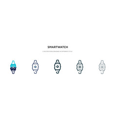Smartwatch icon in different style two colored vector