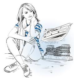 Stylish Girl on a Pier vector