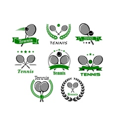 Tennis emblems banners symbols and icons vector image
