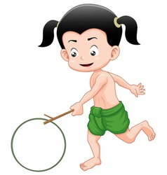 Thai boy playing toy vector
