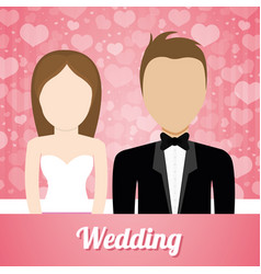 Wedding couple lovely invitation and hearts vector
