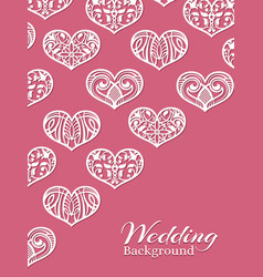 white lacy hearts on pink - romance wedding vector image