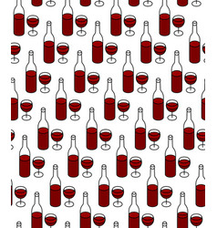 wine bottle with glass full red wine seamless vector image