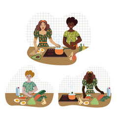 young people prepare food in kitchen from vector image