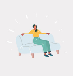 young smiling woman sitting on sofa vector image