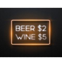 Bar advertising retro glowing neon frame template vector
