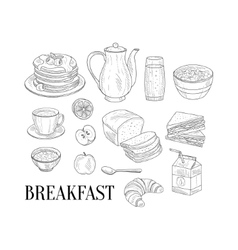 Breakfast Related Isoated Food Items Hand Drawn vector image