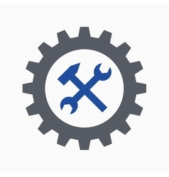 Cogwheel spanner and hammer vector image