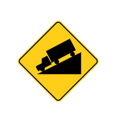 usa traffic road signwarning sign for hill ahead vector image
