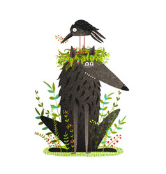 black wolf and crow sitting on head friendship vector image vector image