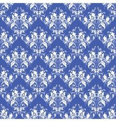 damask seamless on blue background vector image