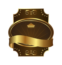 golden royal label on black background with corner vector image vector image