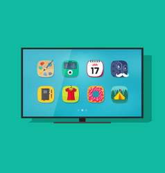 smart television flat screen tv with vector image