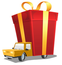 birthday gift on delivery truck vector image