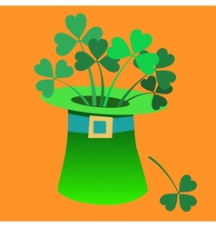 Leprechaun hat with a Shamrock inside Patrick day vector image