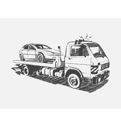Painted tow truck on a white background vector image vector image