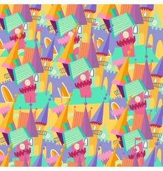 Pattern cartoon castle flat vector image