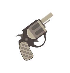 revolver gun pistol vintage bullet weapon white vector image