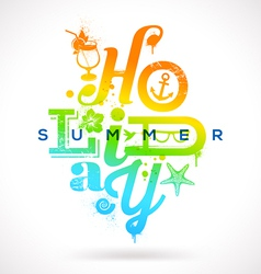 Summer holidays multicolored type design vector image vector image