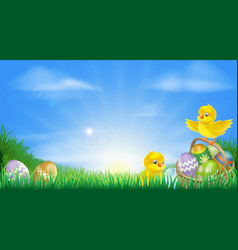yellow easter chicks and eggs background vector image
