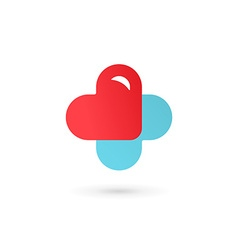 Cross plus heart medical logo icon design template vector image