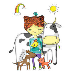 girl surrounded by her animal friends vector image