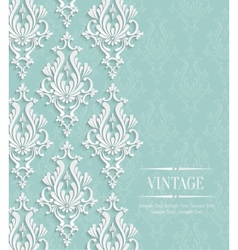 Green Vintage Invitation Card with Floral vector image