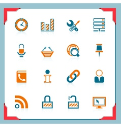 internet and web icons in a frame series vector image
