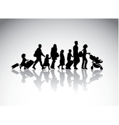 people family travel silhouette symbol vector image